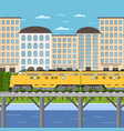 train moving on bridge background of cityscape vector image vector image