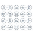 travel tourism line icons on white vector image vector image