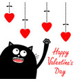 valentines day black cat looking up to hanging vector image vector image