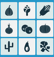 vegetable icons set with blueberry freshness vector image vector image