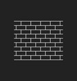 wall brick icon in flat style isolated on black vector image
