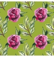 Watercolor seamless pattern with roses and leaves vector image