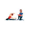 woman doing exercise sitting on floor coach vector image vector image