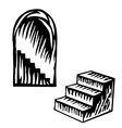Artistic symbol of a steps Black and white steps S vector image