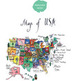 map of attractions of united states of america vector image
