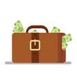suitcase with money portfolio of a rich man vector image