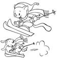 cat skiing vector image