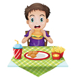 A boy eating vector image