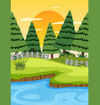 a river landscape at sunset vector image vector image