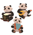 a set pandas playing musical instruments image vector image vector image