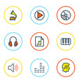 audio icons colored line set with headphone music vector image vector image