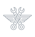 Auto mechanic car repair shop logo icon with wings vector image