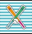baseball bats with ball element to play patch vector image vector image