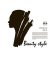beautiful woman face and hair fashion icon vector image vector image
