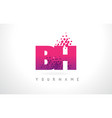 bh b h letter logo with pink purple color vector image vector image
