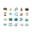 business strategy network icons set vector image