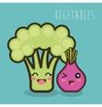 cartoon broccoli and onion isolated vector image