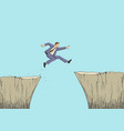 cartoon of a man jumps from the ravine vector image vector image