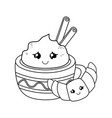 chocolate mug with croissant kawaii characters vector image