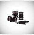 crude oil barrels on white background leaking vector image