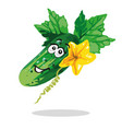 cucumber cartoon character with flower and leaves vector image
