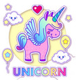 cute greeting cards with magic unicorn vector image vector image