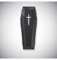 Elegant black coffin with glare and yellow handles vector image