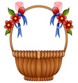 empty wicker basket with color flowers and blue bo vector image