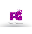 fg f g dots letter logo with purple bubbles vector image vector image