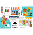 flat shopping infographic concept vector image