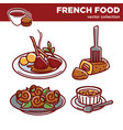 french cuisine food dishes icons vector image vector image
