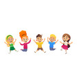 funny cartoon children jumping vector image vector image