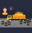 gas leak and fire inflaming scared vector image vector image