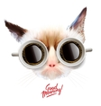 good morning funny cat with cups coffee vector image vector image