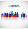 hartford skyline silhouette in colorful geometric vector image vector image