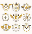 heraldic emblems with wings isolated on white vector image vector image