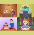 homework banner set cartoon style vector image