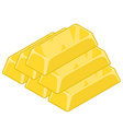 Ingot of gold isolated Cast precious metal on vector image vector image
