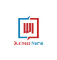 initial letter wi logo template design vector image