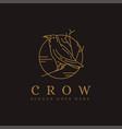 lineart raven crow bird logo icon vector image vector image