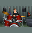 man playing drum vector image vector image