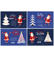 merry bright greeting card santa holding hands up vector image vector image
