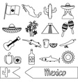 Mexico country theme symbols outline icons set vector image vector image