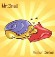 mr snail with sleep vector image vector image