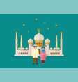 muslim man and woman with mosque in background vector image vector image
