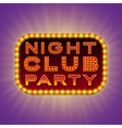 Night club party 3d retro light banner with bulbs vector image vector image