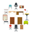 office furniture icons set in flat style vector image vector image
