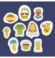 Organic eco and bio food stickers set vector image vector image