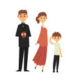 people of catholic religion in traditional clothes vector image