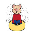 pig rides symbol 2019 from the mountain vector image